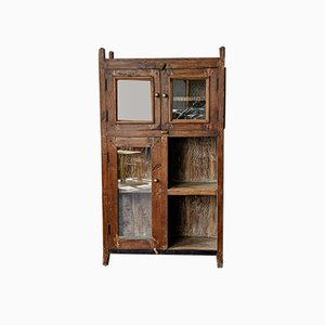 Vintage Indian Teak and Glass Cabinet, 1960s