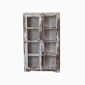Vintage Indian White Distressed Wooden Display Cabinet, 1960s