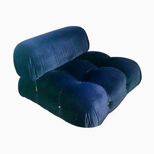 Blue Velvet Modular Camaleonda Sofa by Mario Bellini for B&B Italia / C&B Italia, 1970s