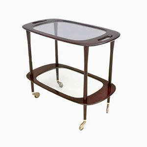 Mid-Century Ebonized Walnut and Glass Serving Cart by Cesare Lacca, Italy 1950s