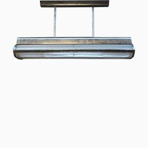 Lámpara de techo grande de metal y vidrio de Holophane, años 60