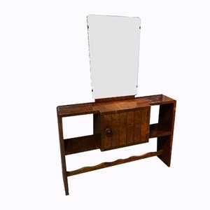Mid-Century Veneered Console with Mirror, 1960s