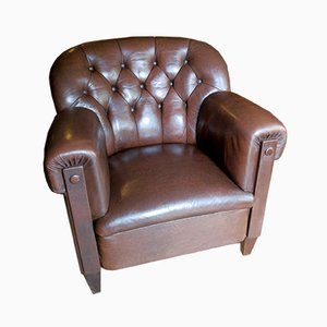Dark Brown Leather Club Chair, 1920s