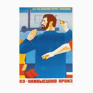USSR Teaching Propaganda Poster, 1986