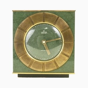 Mid-Century Green Enameled Brass Ato-Mat Clock from Junghans