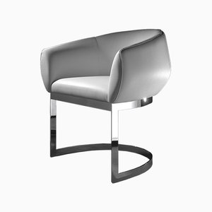 Dining Chair with Chrome Base & White Eco-Leather Upholstery by Estudihac JMFerrero