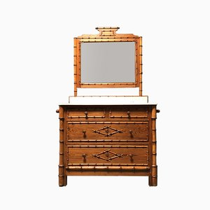 19th-Century Faux Bamboo Dresser with Mirror