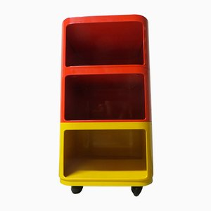 Mesita de noche modular en amarillo y rojo de Anna Castelli Ferrieri para Kartell, años 70