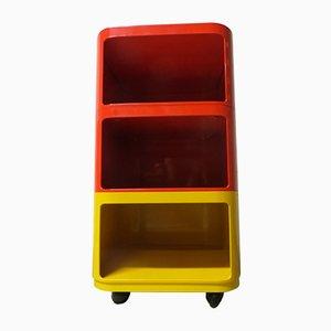 Table de Chevet Modulaire Jaune et Rouge par Anna Castelli Ferrieri pour Kartell, 1970s