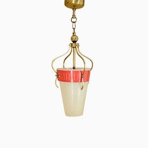 Deckenlampe aus Messing & Glas, 1950er