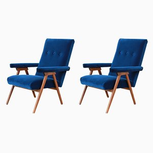 Vintage Italian Blue Reclining Lounge Chairs, 1960s, Set of 2