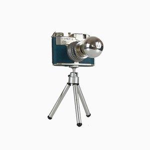 Umgewandelte Vintage Comet S Fotokamera Schreibtischlampe auf Stativ