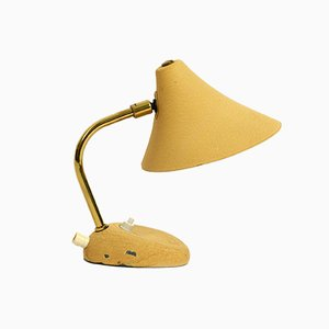 Small Mid-Century Beige Shrink Lacquer Table Lamp with Adjustable Shade, 1950s