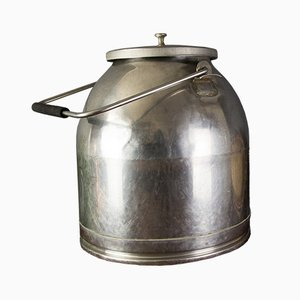 Vintage Rustic Stainless Steel Milk Can or Bucket with Lid
