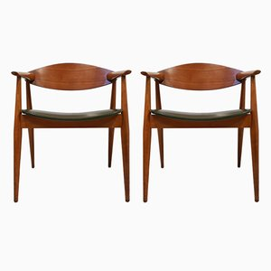 Vintage Danish Khaki Leatherette & Teak Lounge Chairs, 1960s, Set of 2