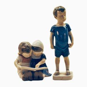 Statuette vintage in ceramica di Bing & Grøndahl, set di 2