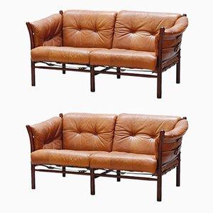 Canapés 2 Places Modèle Ilona Vintage en Cuir par Arne Norell pour Arne Norell AB, Set de 2