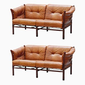 Vintage Model Ilona Leather 2-Seater Sofas by Arne Norell for Arne Norell AB, Set of 2
