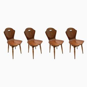 Geschwungene Esszimmerstühle aus Holz von Carlo Ratti, 1950er, Set of 4