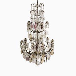 Large Antique French Chandelier with Crystal Leaf Prisms