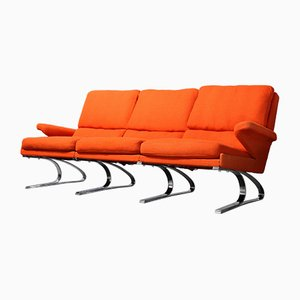 Mid-Century Coral Red Swing 3-Seater Sofa from Cor