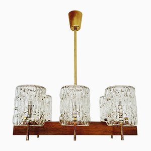 Austrian Crystal and Rosewood Chandelier from Rupert Nikoll, 1950s