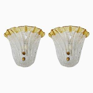 Eisglas Wandlampen, 1960, 2er Set