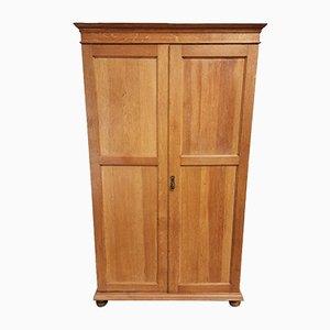 Antique Style Solid Oak Wardrobe with Mirrored Door, 1970s