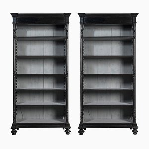 Antique Ebonised Bookcases, Set of 2