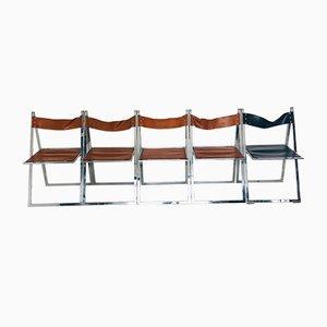 Chaises de Salle à Manger Elios en Cuir et Acier, 1960s, Set de 5