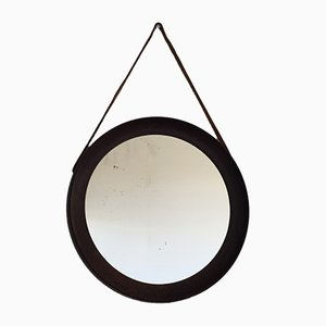 Scandinavian Wengé Mirror with Leather Strap, 1960s