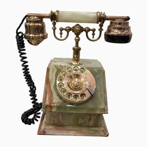 Grünes italienisches Vintage Telefon aus grünem Onyx und vergoldeter Bronze