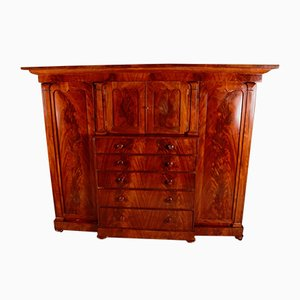 Large Antique Victorian Flamed Mahogany Compactum Wardrobe