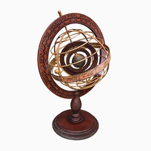 Vintage Wood and Brass Armillary Sphere with Double Rotating Globe