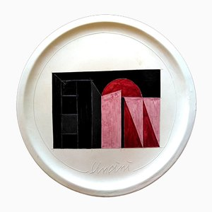 Ceramic Plate by Giuseppe Uncini for Antica Deruta, 1980s