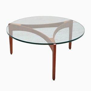 Table Basse Vintage en Teck et Verre par Sven Ellekaer pour Christian Linneberg