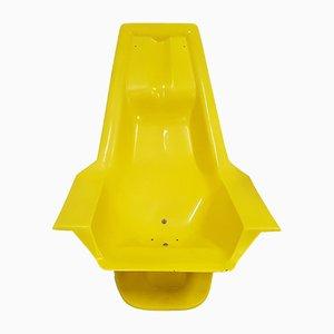 Gelber Glasfaserstuhl von Charles Zublena für Les Plastiques de Bourgogne, 1970er
