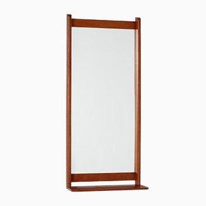 Espejo danés de teca con estante, años 60