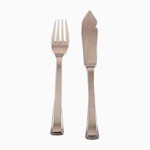 Vintage Number 32 Fish Cutlery Set by Evald Nielsen, Set of 24