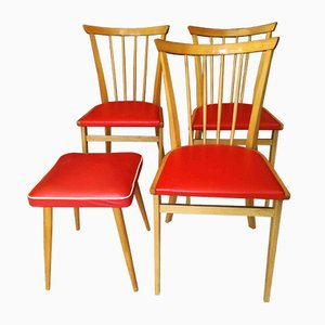 Vintage Dining Chair Set with Stool