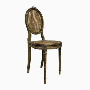 Antiker französischer Beistellstuhl aus Korbgeflecht