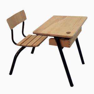 Vintage Schulpult mit integriertem Stuhl von Stella