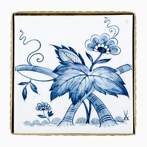 Porcelain & Brass Tile Coasters with Floral Decor from Porzellan-Manufaktur Meissen, 1960s