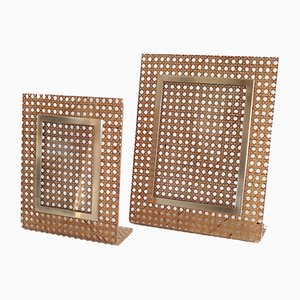 Italian Plexiglas, Brass and Wicker Picture Frame, 1970s, Set of 2