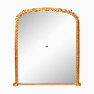 Espejo de repisa antiguo de madera dorada