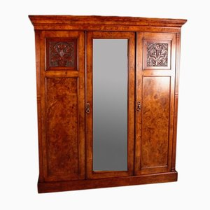 Antique Victorian Burr Walnut Compactum 5-Part Wardrobe
