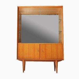 Mobiletto vintage in ciliegio con schienale specchiato, anni '50