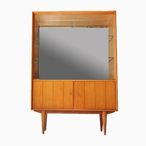 Vintage Cherry Cabinet with Mirrored Back, 1950s