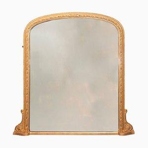 Espejo inglés antiguo de madera dorada, década de 1890