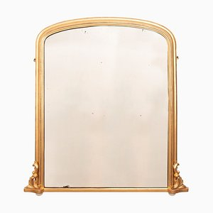 Espejo inglés antiguo de madera dorada, década de 1880